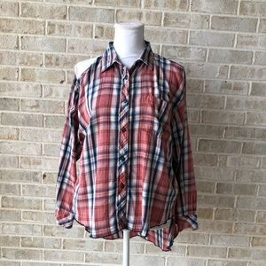 Ralph Lauren cold shoulder flannel